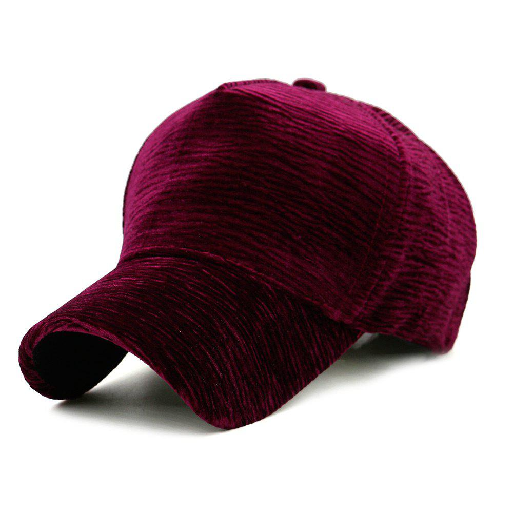 Unique Solid Color Striped Pattern Sunscreen Hat - WINE RED