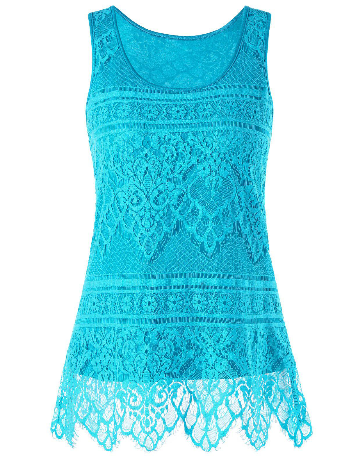 Lace U Neck Tank Top - BLUE M