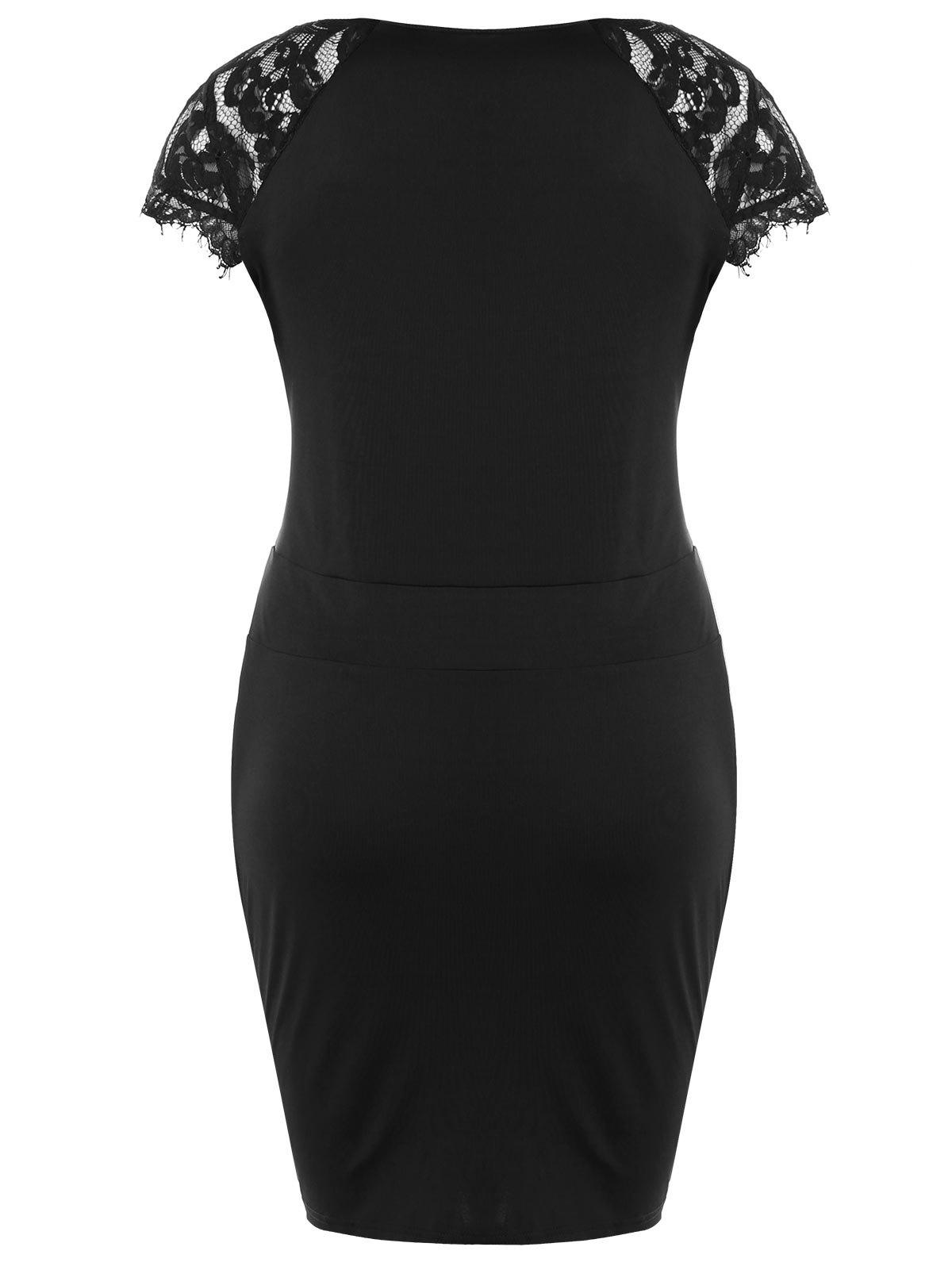 Plus Size Lace Panel Sweetheart Neck Bodycon Dress - BLACK 2XL