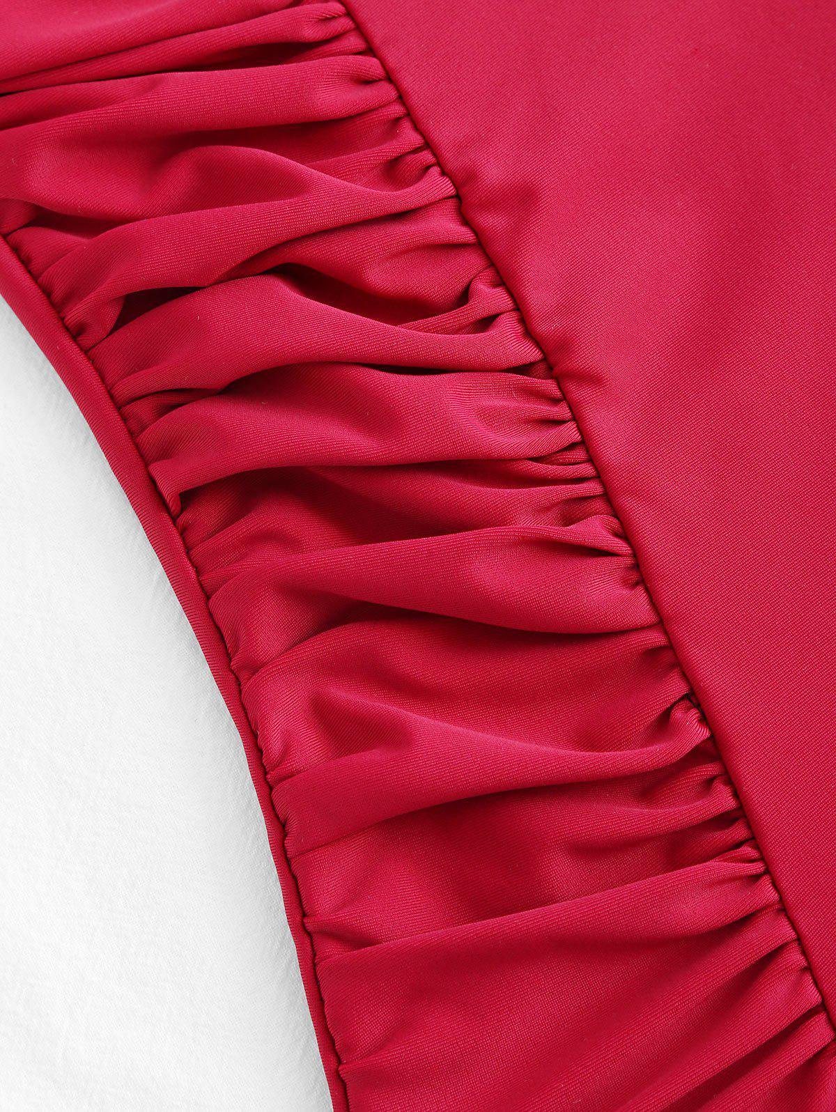 Ruched Spaghetti Strap One Piece Swimsuit - WINE RED 12