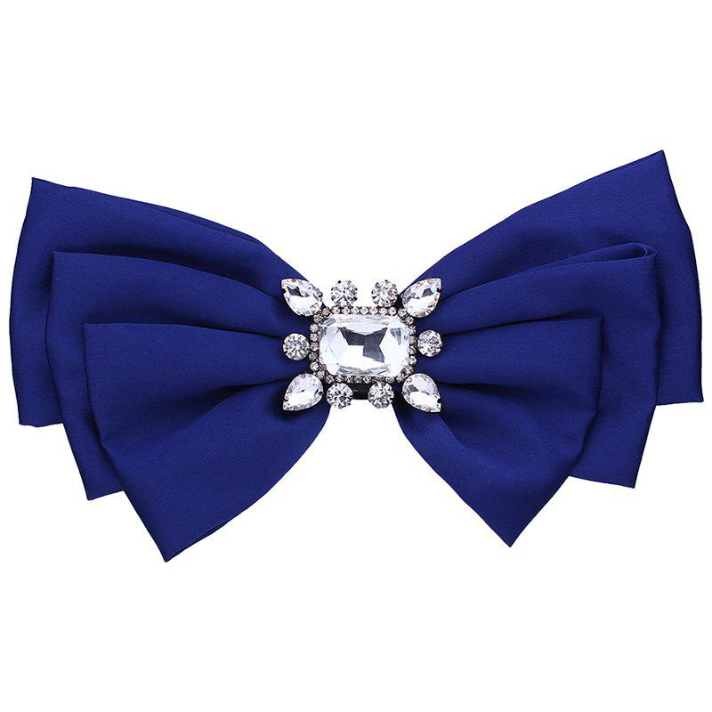 Faux Crystal Embellished Bowknot Fabric Corsage Brooch - ROYAL