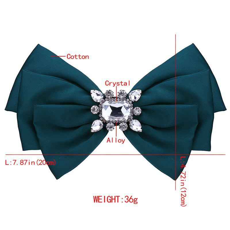 Faux Crystal Embellished Bowknot Fabric Corsage Brooch - DARK GREEN