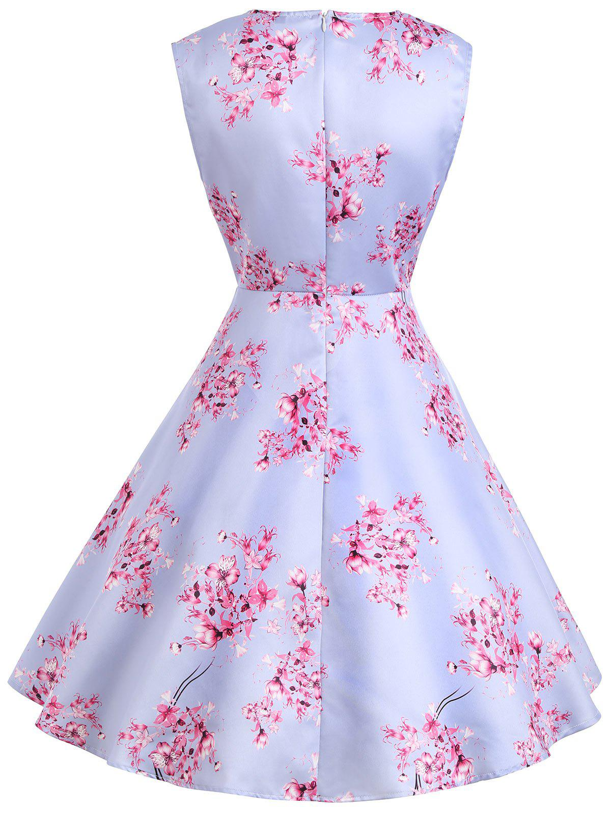 Vintage Flower Print Sleeveless Dress - LIGHT PURPLE M