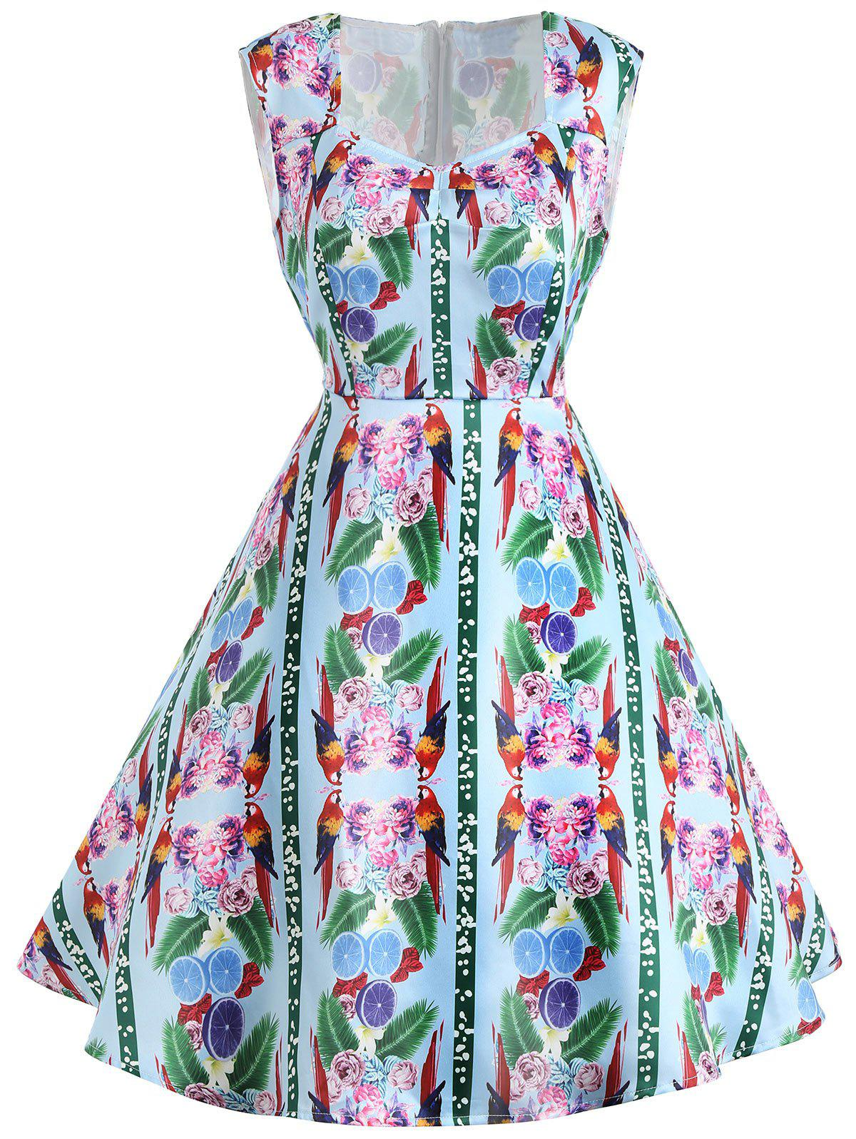 Vintage Flower Print Sleeveless Dress - GREEN M