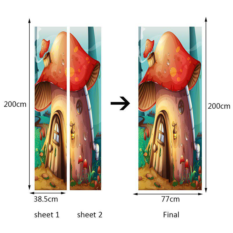 Forest Mushroom House Patterned Door Stickers - COLORFUL 38.5*200CM*2PCS