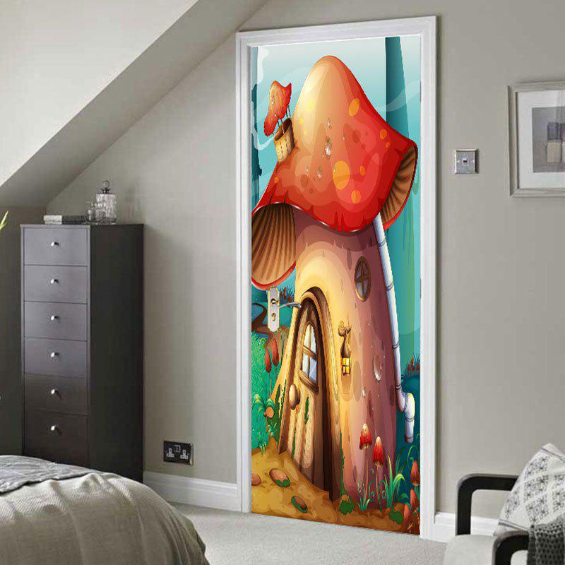 Forest Mushroom House Patterned Door Stickers wild edible mushroom in forest ecosystem