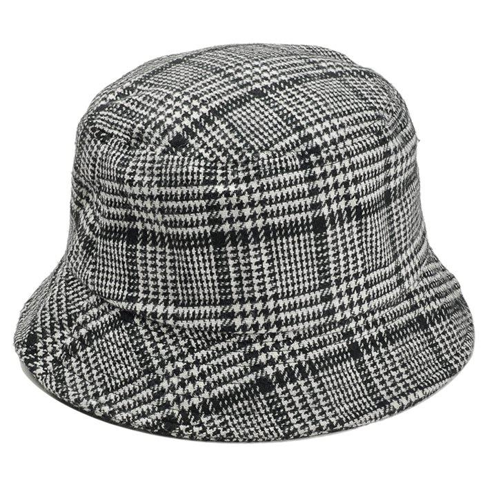 Simple Houndstooth Pattern Decorated Bucket Hat - BLACK