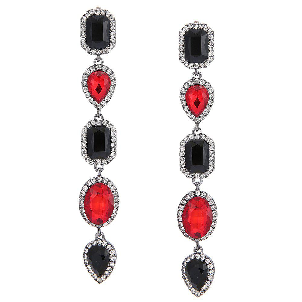 Faux Crystal Geometric Layered Long Dangle Earrings - RED