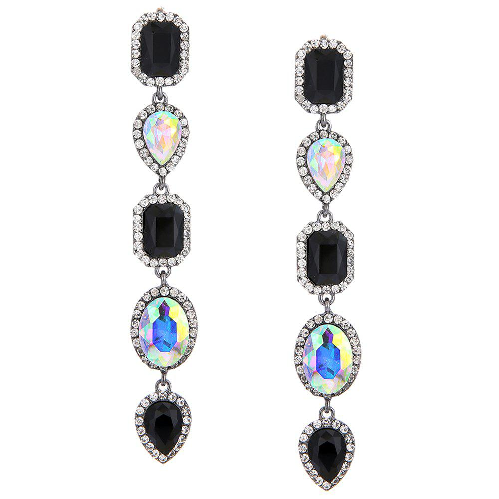Faux Crystal Geometric Layered Long Dangle Earrings - COLORFUL