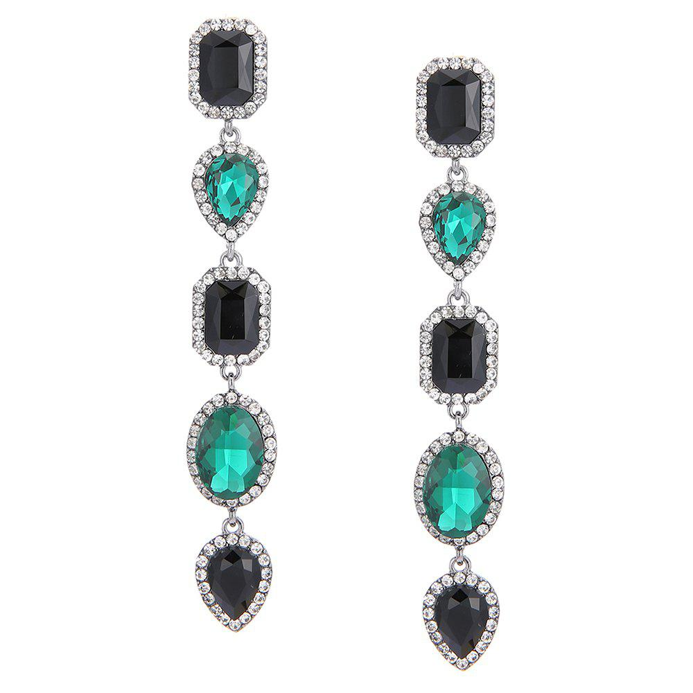 Faux Crystal Geometric Layered Long Dangle Earrings - GREEN