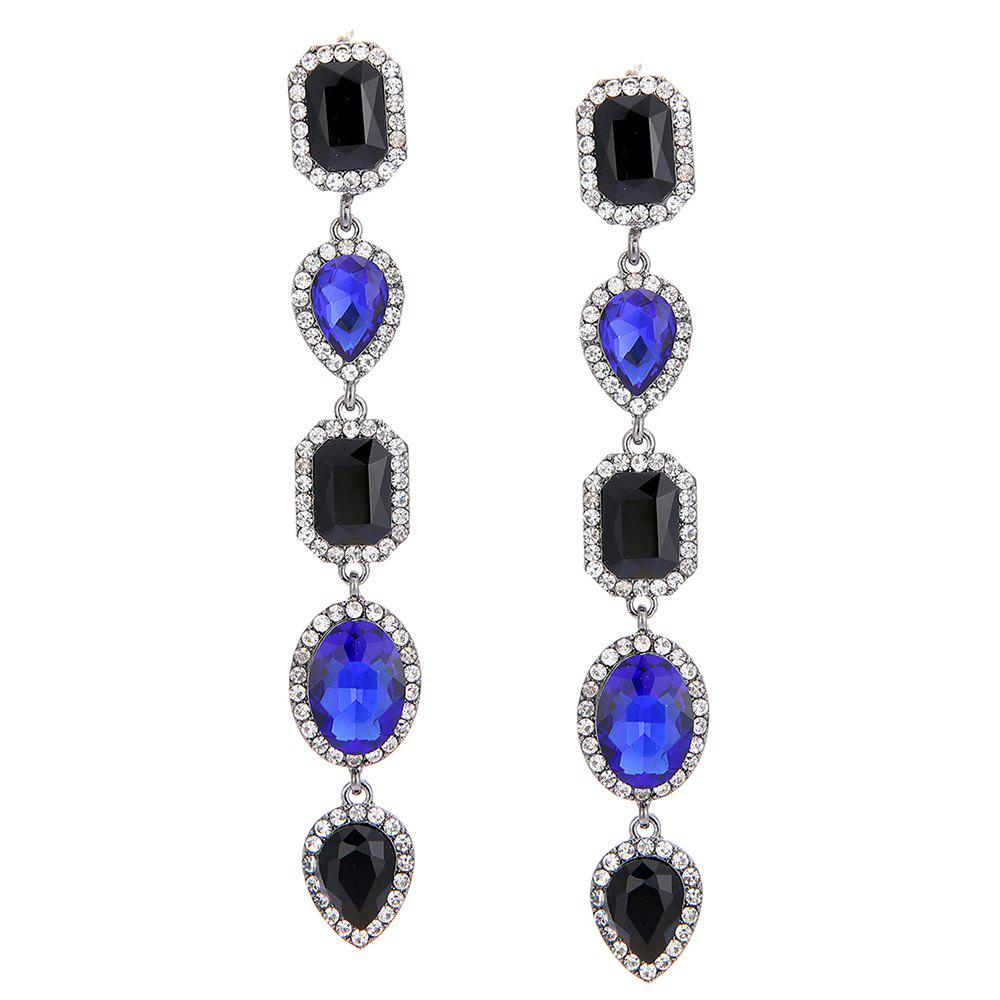 Faux Crystal Geometric Layered Long Dangle Earrings - BLUE