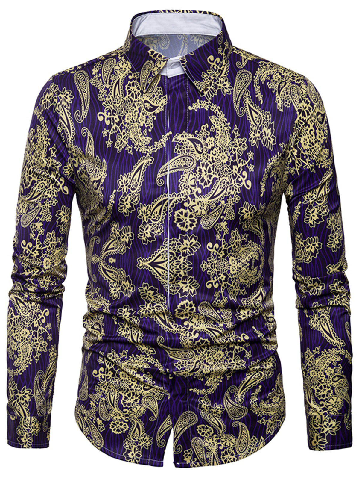 3D Paisley Print Cover Placket Shirt - GOLDEN L