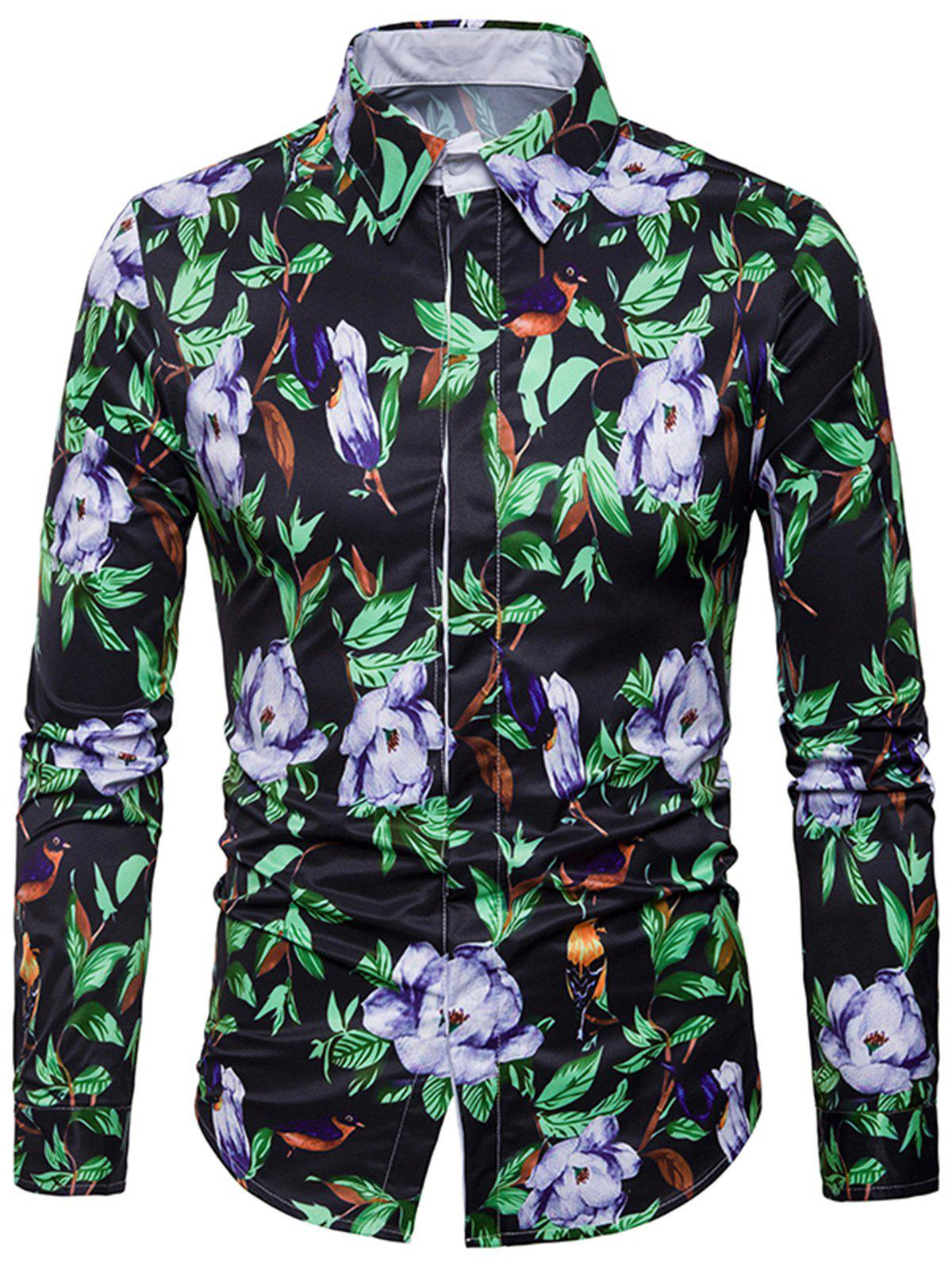 3D Florals Leaves Print Cover Placket Shirt