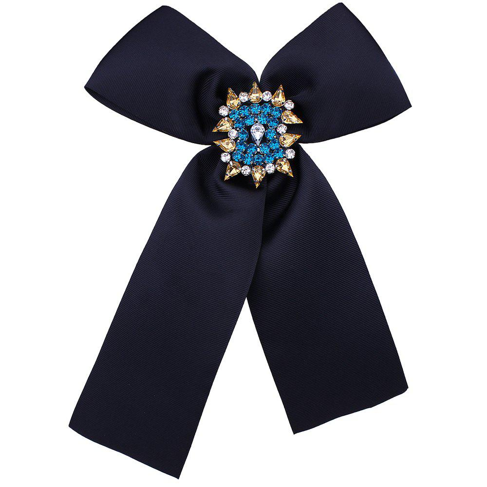 Bowknot Corsage Diamante Brooch - BLACK