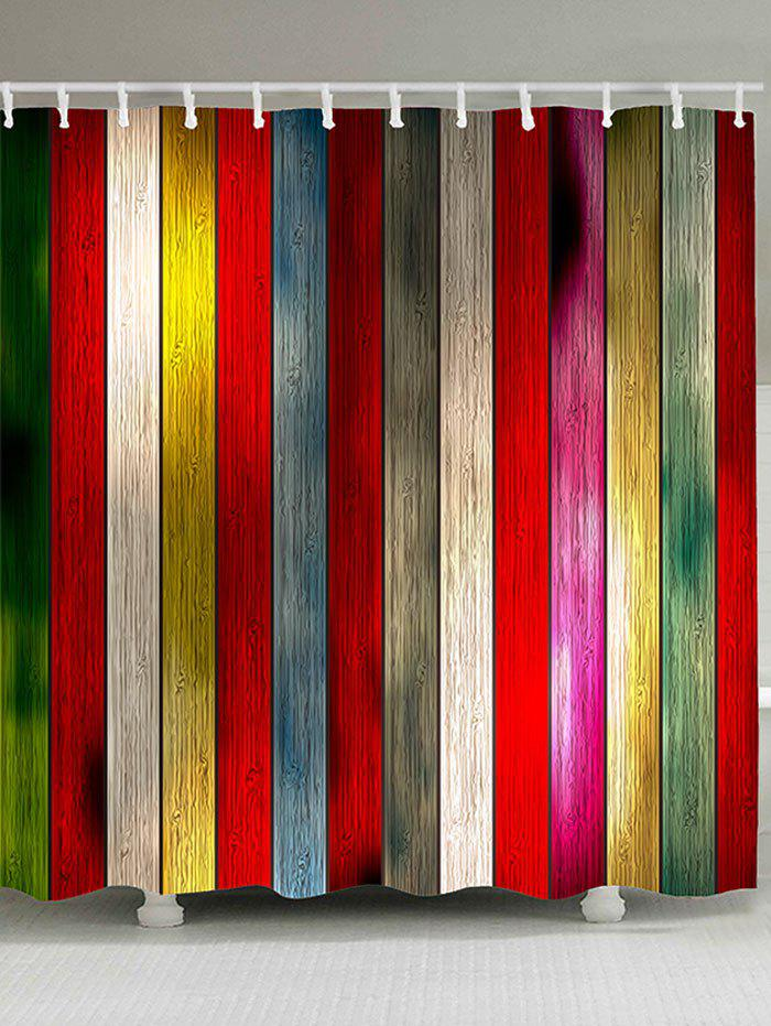 Colorful Plank Print BathCurtain - COLORFUL W71 INCH * L71 INCH