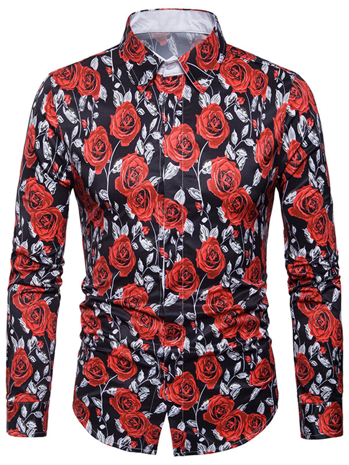 Cover Placket 3D Roses Print Valentine's Day Shirt - BLACK L
