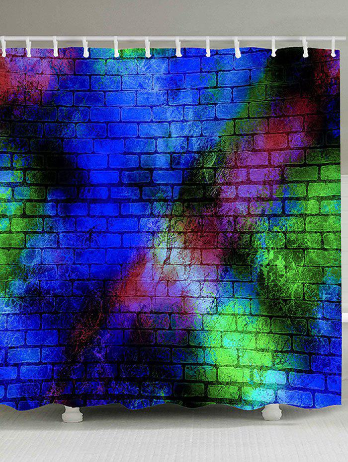 Colorful Brick Wall Print Waterproof Shower Curtain - COLORFUL W71 INCH * L71 INCH