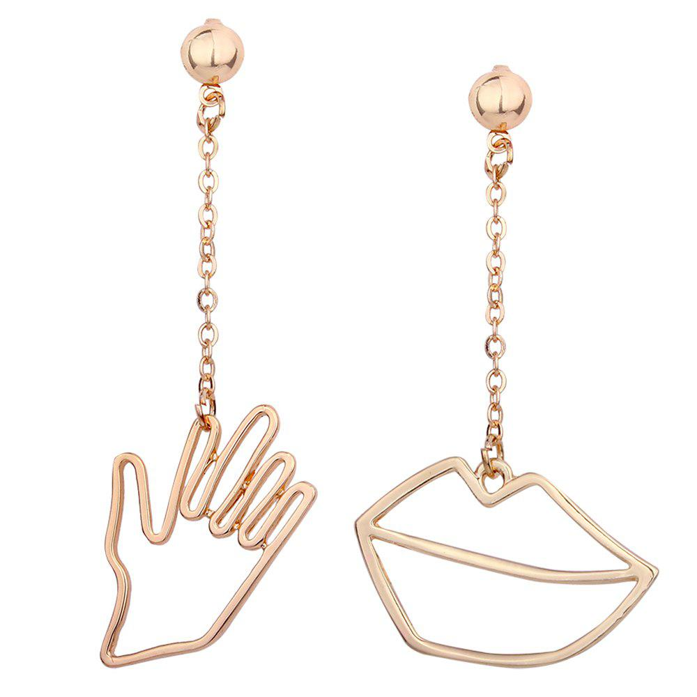 Asymmetric Metal Hand Lips Chain Earrings - GOLDEN