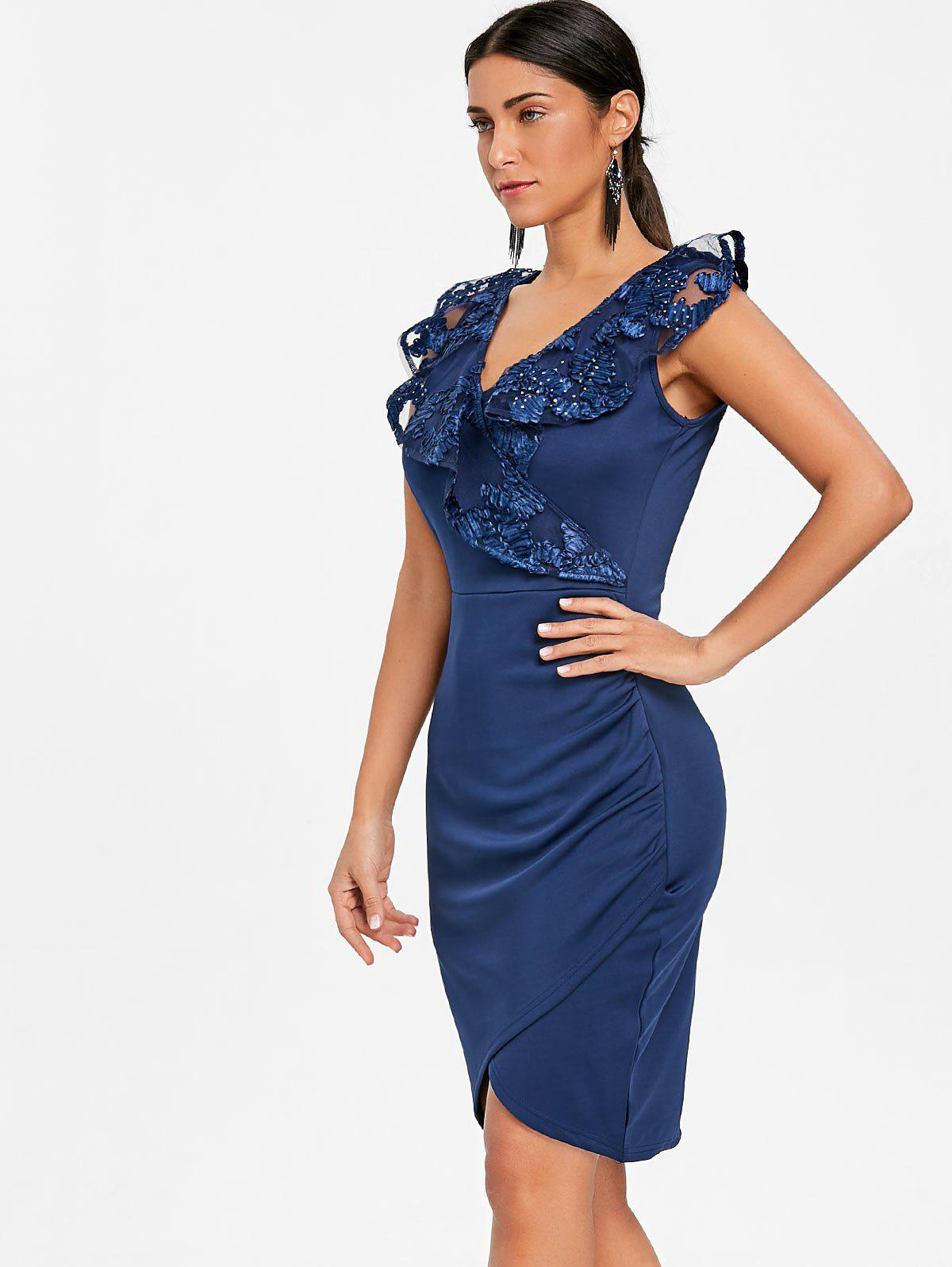 Ruched Lace Trimmed Bodycon Dress - BLUE S