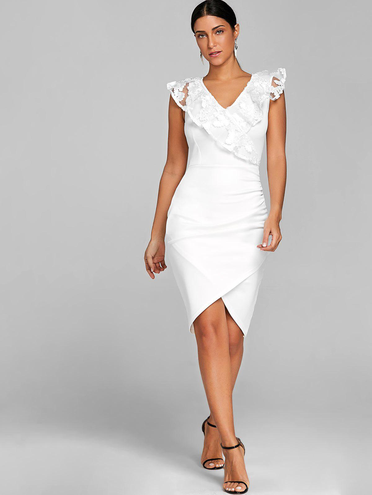 Ruched Lace Trimmed Bodycon Dress - WHITE S
