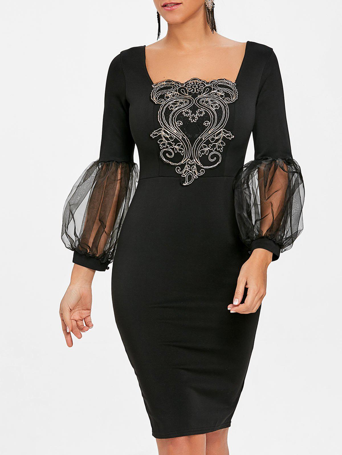 Applique Lantern Sleeve Bodycon Dress - BLACK L