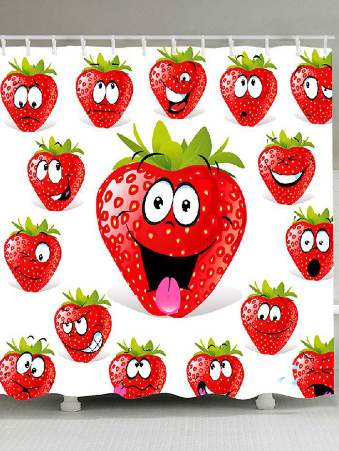 Strawberry Funny Emoji Pattern Shower Curtain - RED W59 INCH * L71 INCH