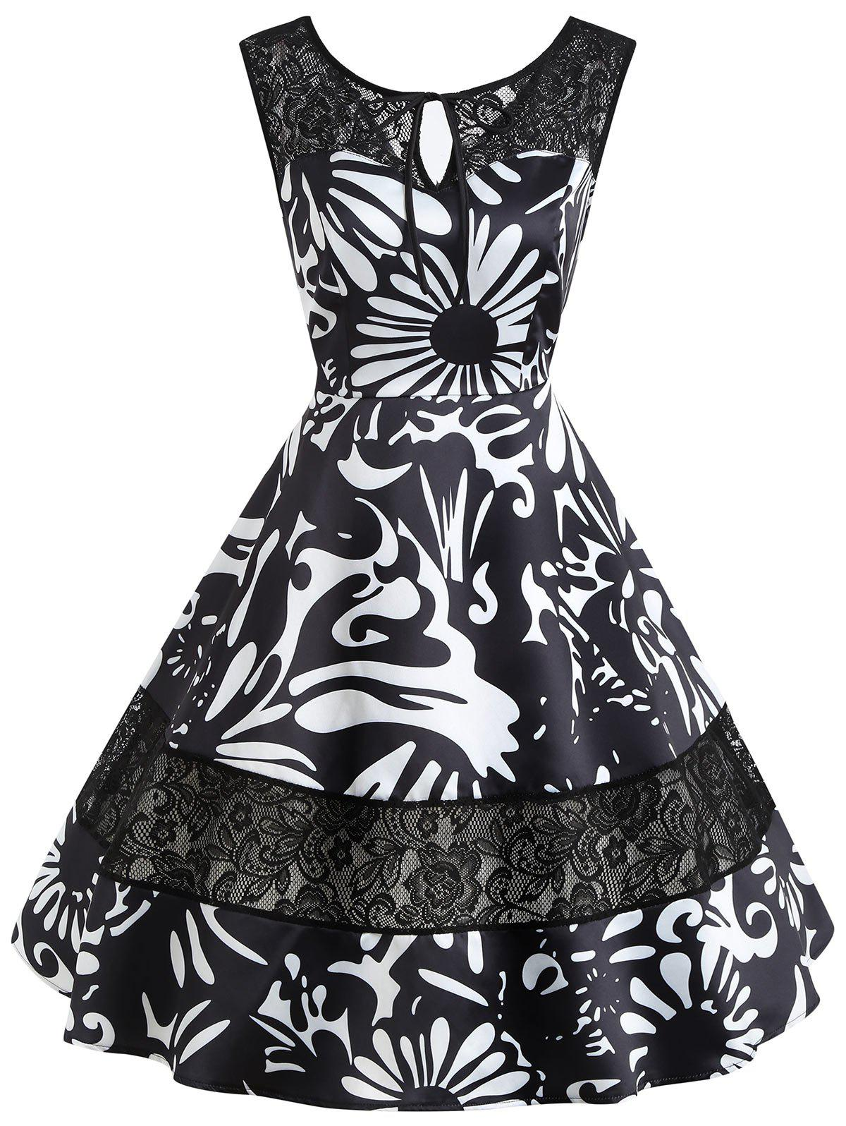 Keyhole Floral Print Lace Insert Vintage Dress - BLACK M