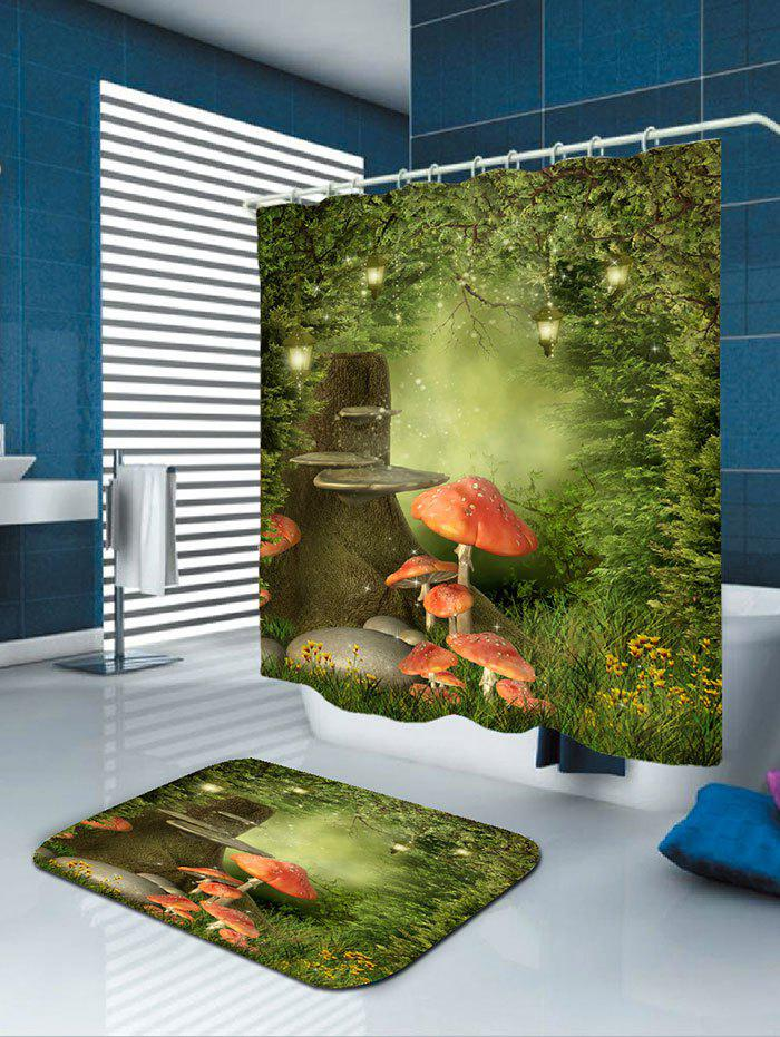 Waterproof Fantasy Forest Mushroom Print Shower Curtain - COLORFUL W59 INCH * L71 INCH