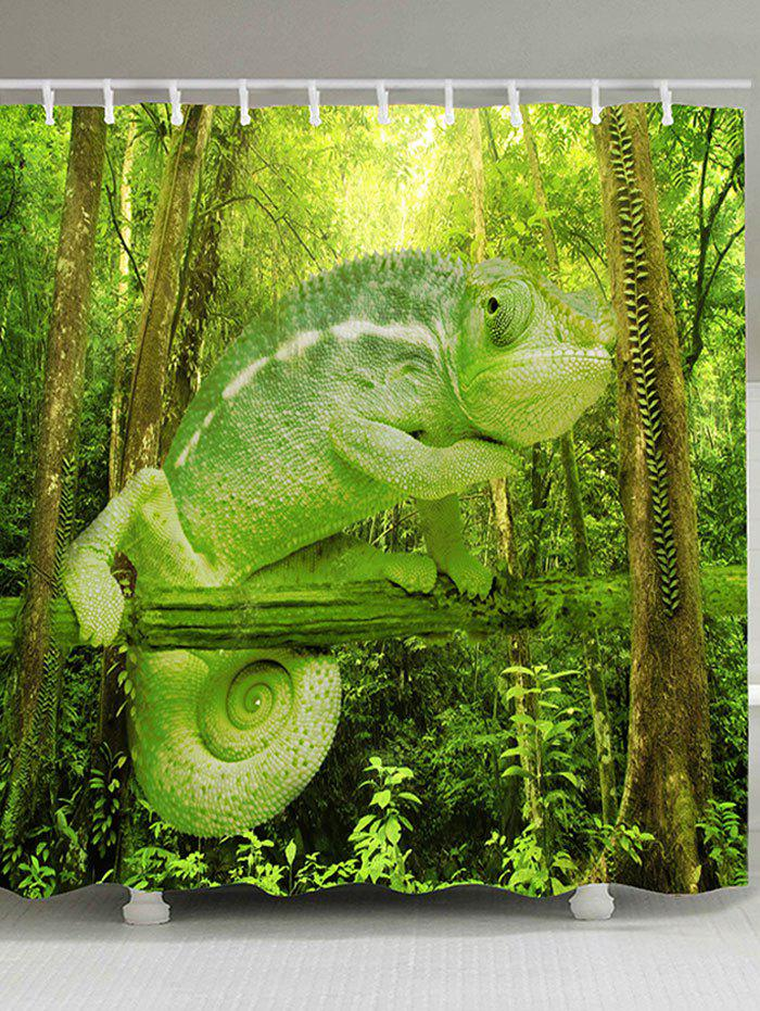 Forest Chameleon Print Polyster Shower Curtain - GREEN W59 INCH * L71 INCH
