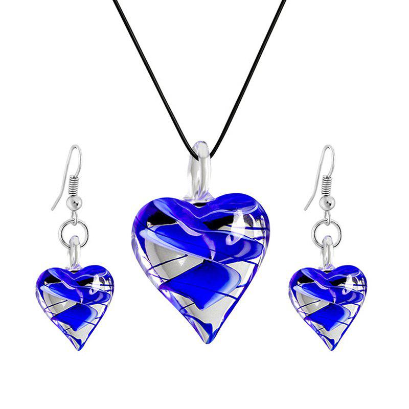 Valentine's Day Heart Glass Jewellery Set - BLUE