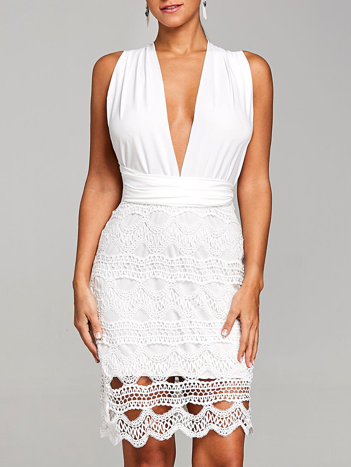Scalloped Crochet Low Cut Club Dress - WHITE L