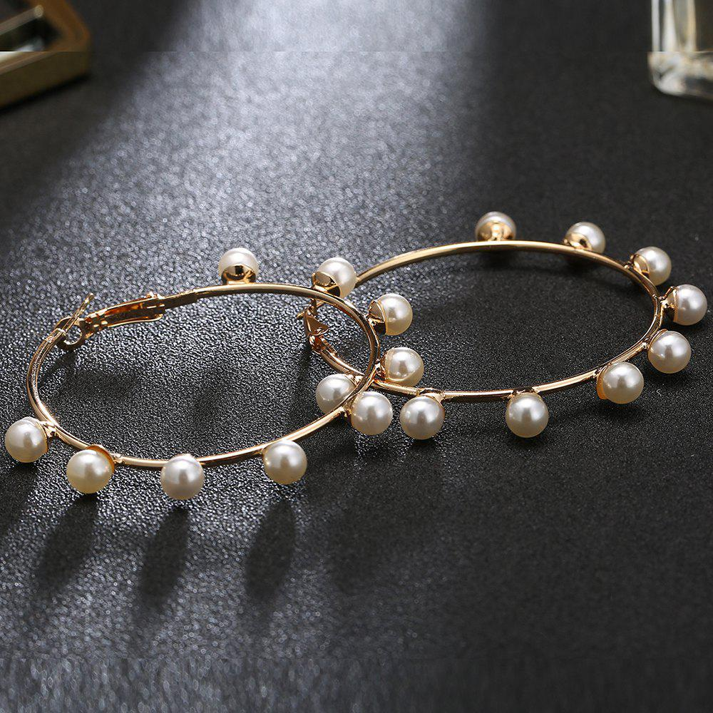 Unique Faux Pearl Circle Hoop Earrings - GOLDEN