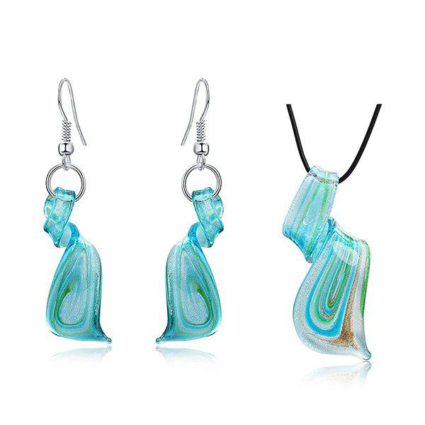 Coloured Glaze Spiral Ornament Drop Earrings and Necklace - BLUE