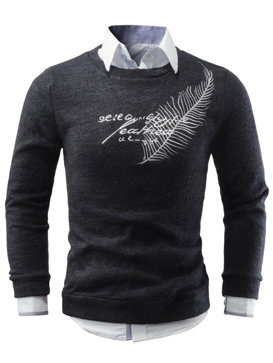 Crew Neck Leaf Embroidery Sweater - BLACK L