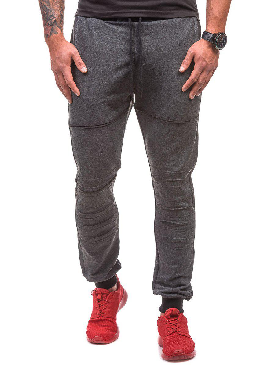 Destroyed Drawstring Waist Jogger Sweatpants - DEEP GRAY M