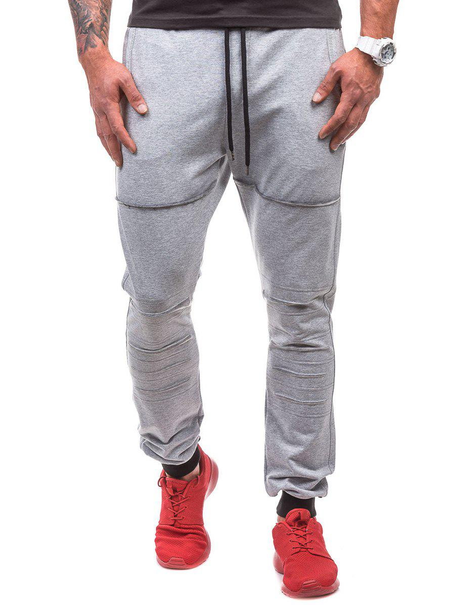Destroyed Drawstring Waist Jogger Sweatpants - LIGHT GRAY M