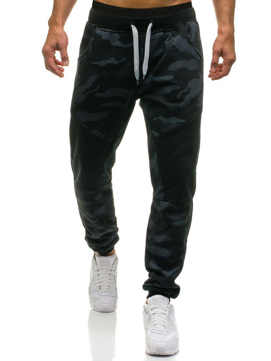 Camouflage Drawstring Waist Jogger Sweatpants - BLACK 2XL