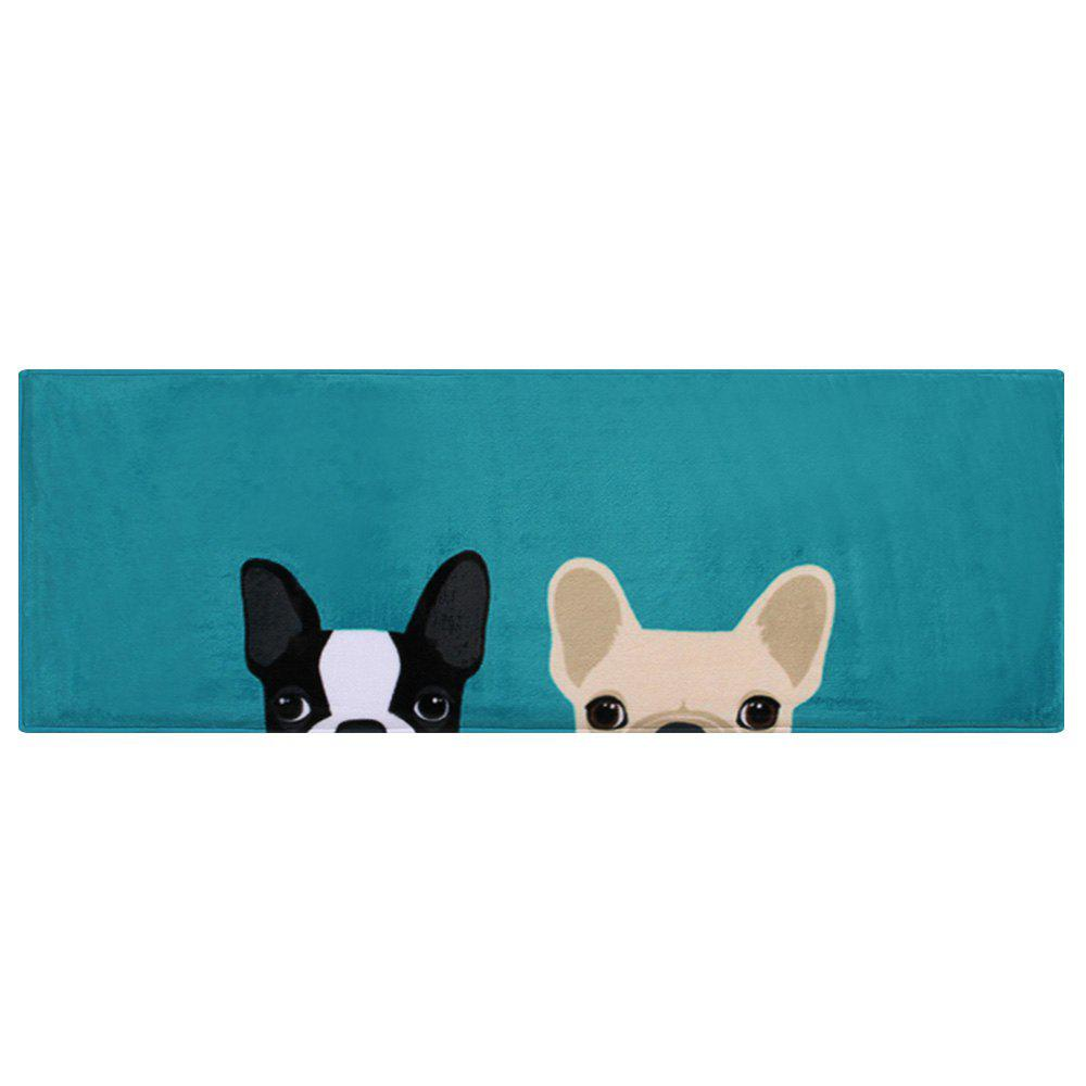 Puppy Head Coral Velvet Indoor Area Rug - LAKE BLUE W24 INCH * L71 INCH