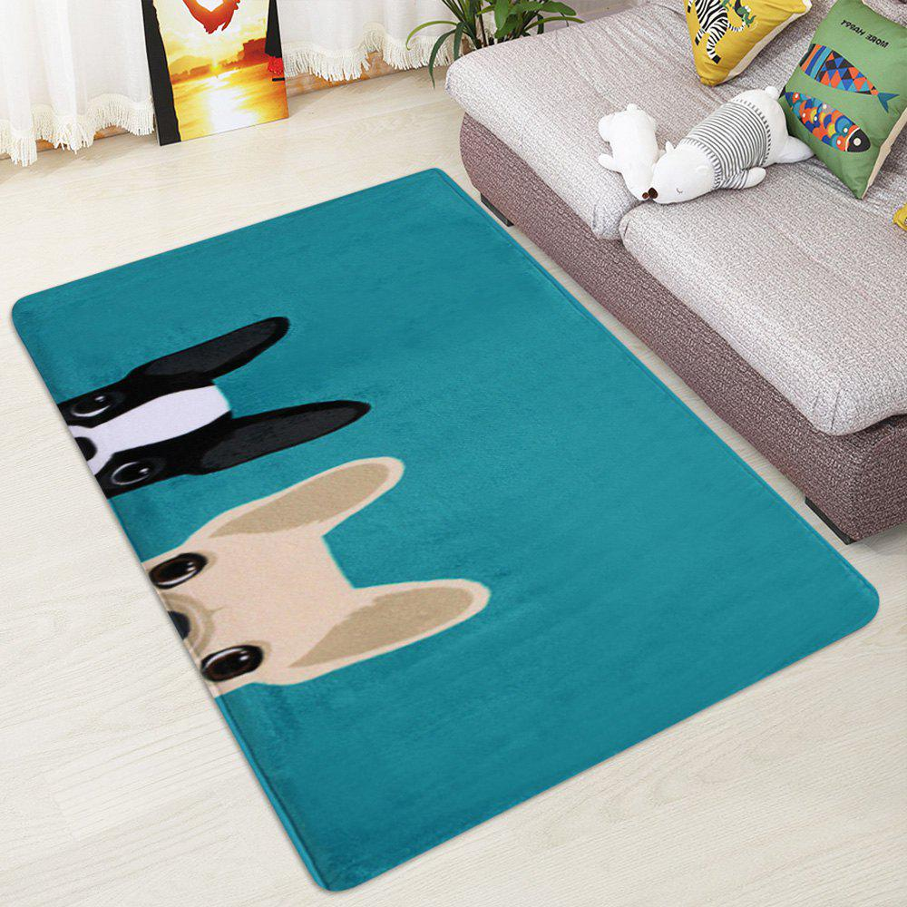 Puppy Head Coral Velvet Indoor Area Rug - LAKE BLUE W47 INCH * L63 INCH
