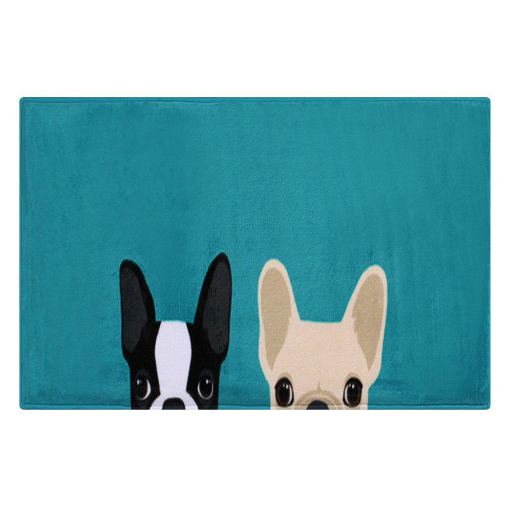 Puppy Head Coral Velvet Indoor Area Rug - LAKE BLUE W24 INCH * L35.5 INCH