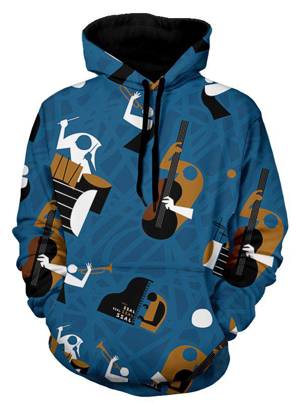 Musical Instruments Print Pullover Hoodie - BLUE 3XL