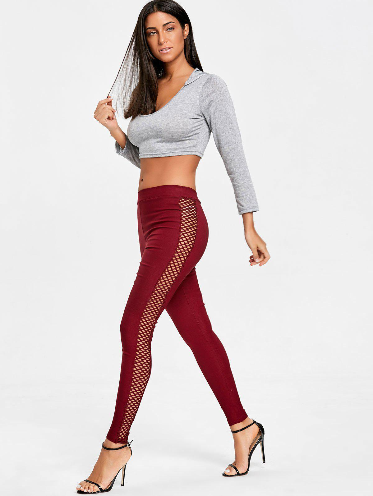 Cross Fishnet Side Pants - WINE RED L