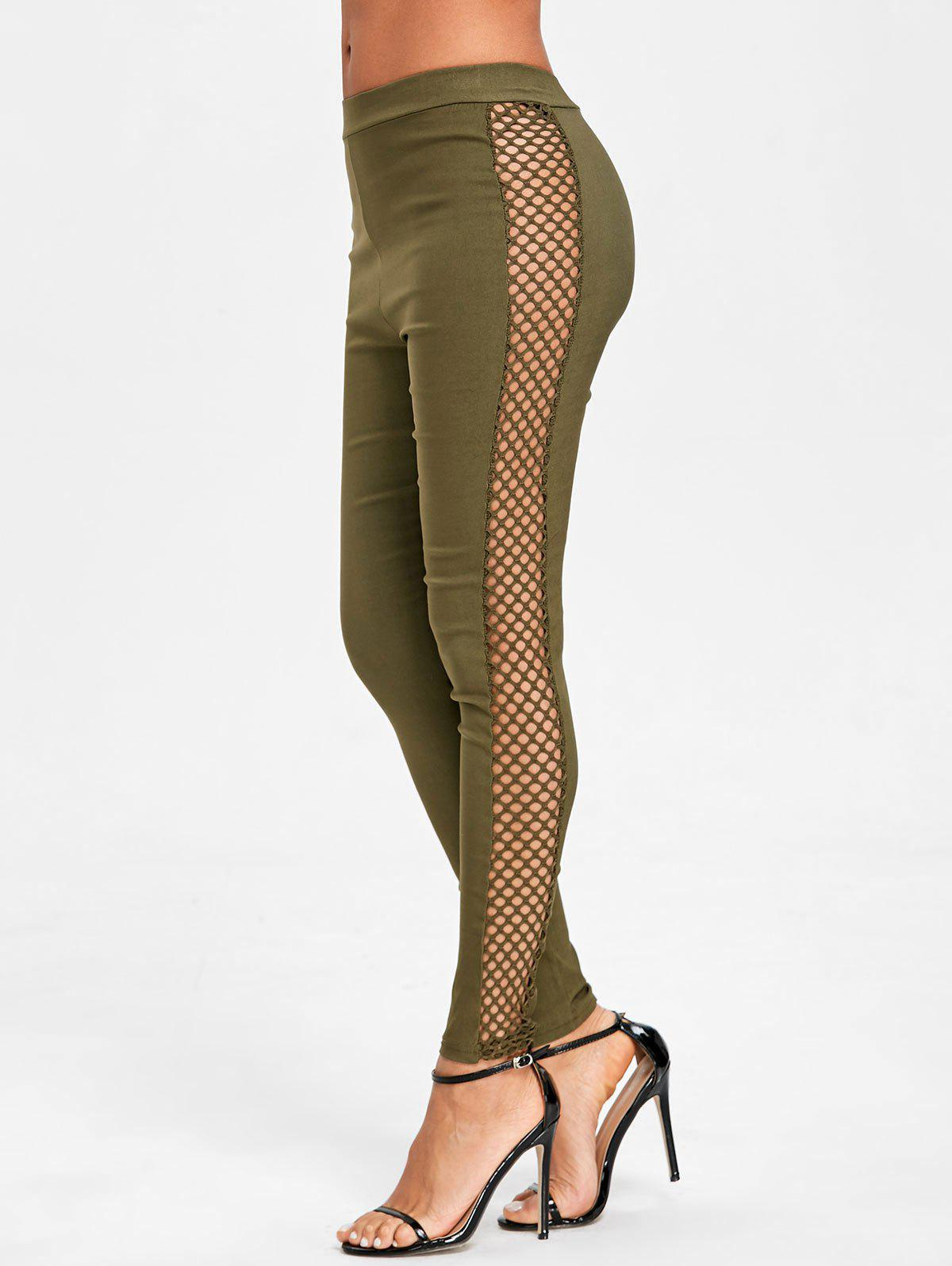 Cross Fishnet Side Pants - GREEN S