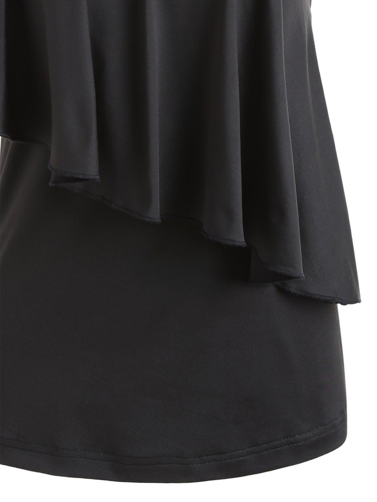 One Shoulder Sequins Overlay Capelet Top - BLACK M