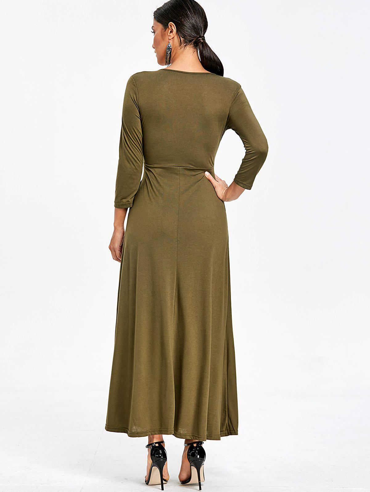 V Neck Empire Waist Maxi Dress - ARMY GREEN XL