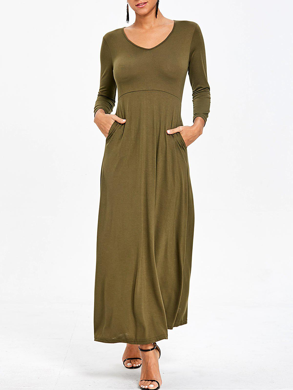 V Neck Empire Waist Maxi Dress - ARMY GREEN S
