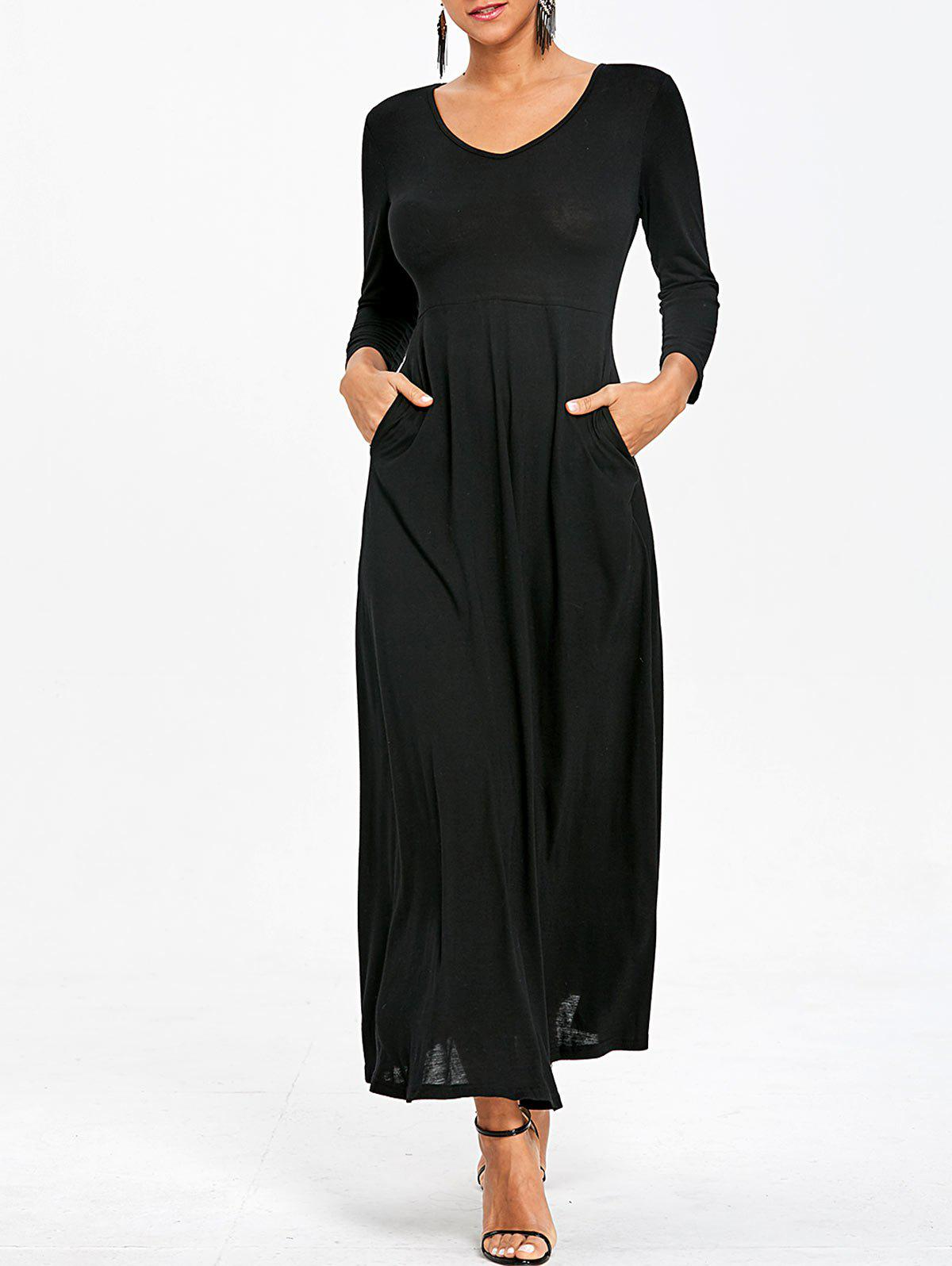 V Neck Empire Waist Maxi Dress - BLACK S