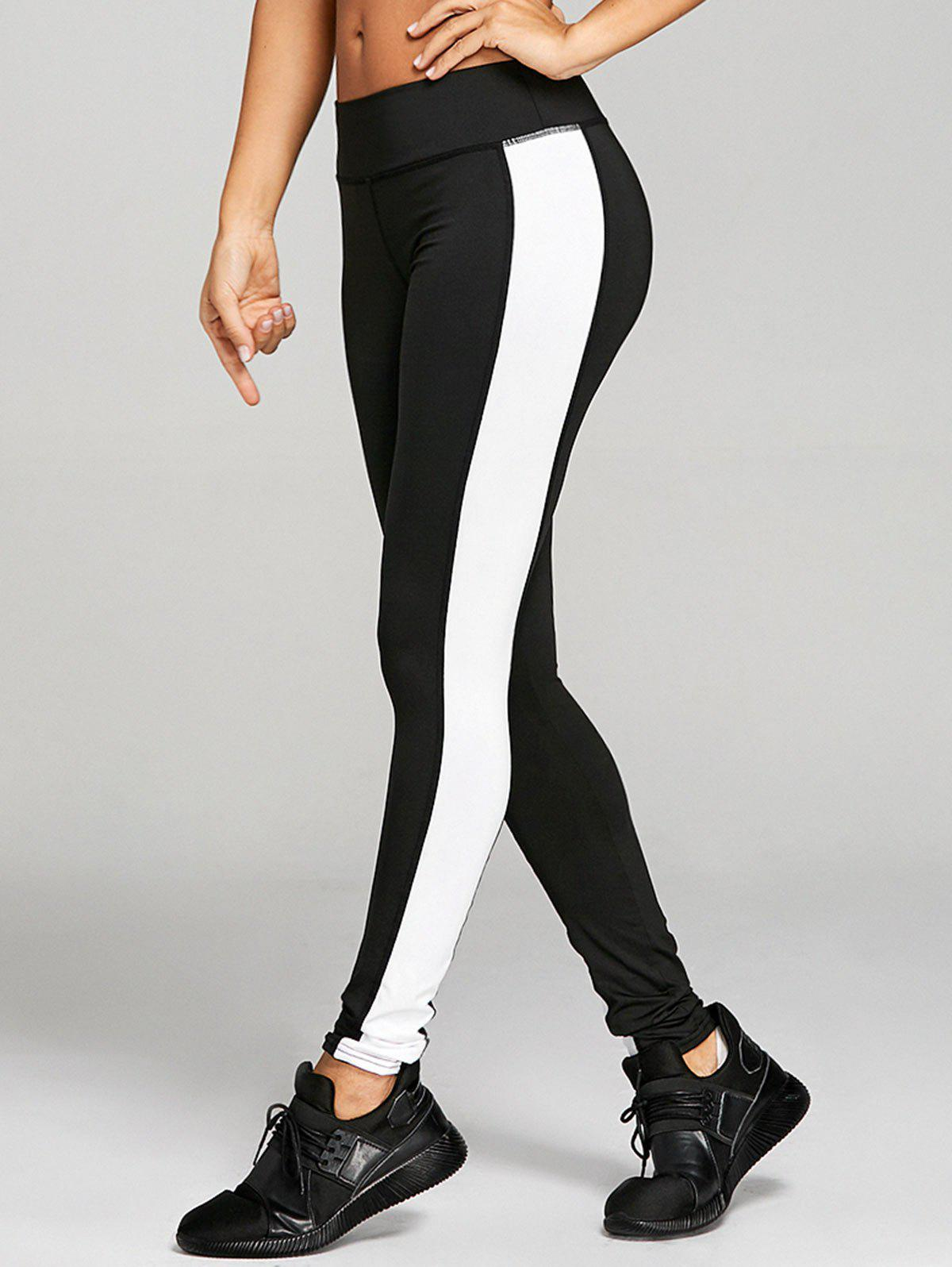High Rise Two Tone Workout Leggings - BLACK S