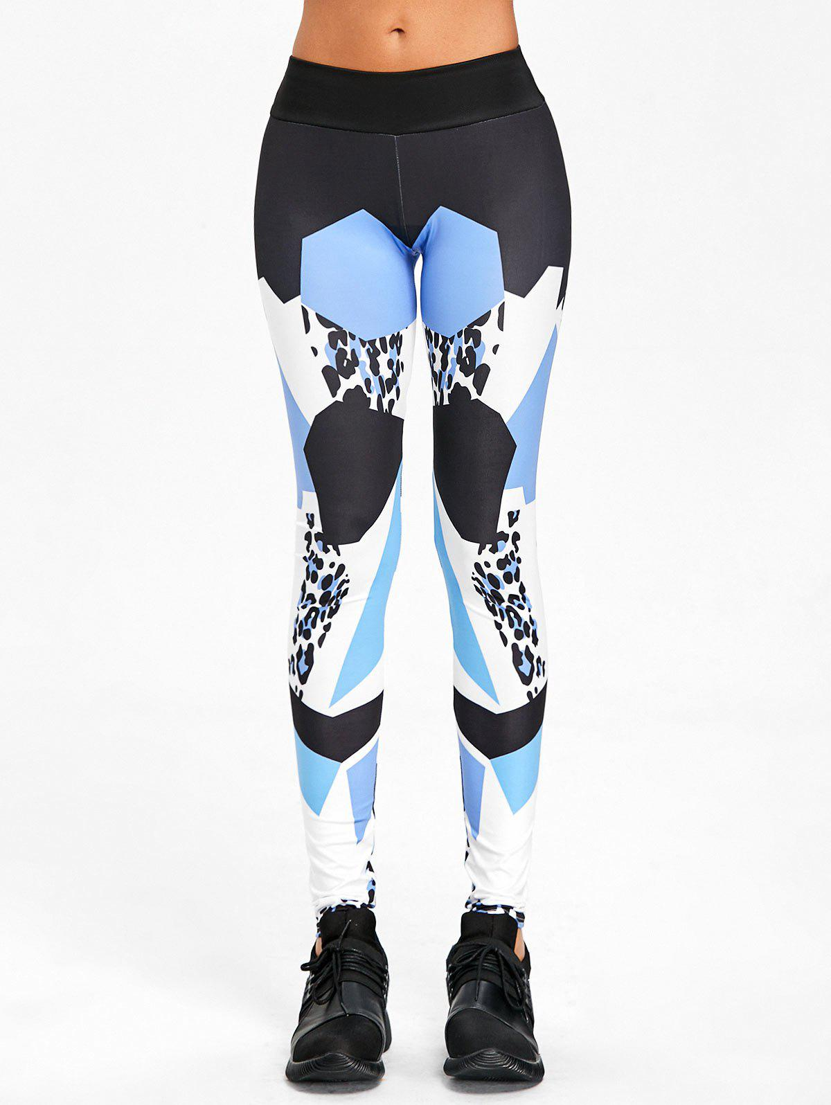 Geometric Pattern High Rise Yoga Leggings - BLUE M