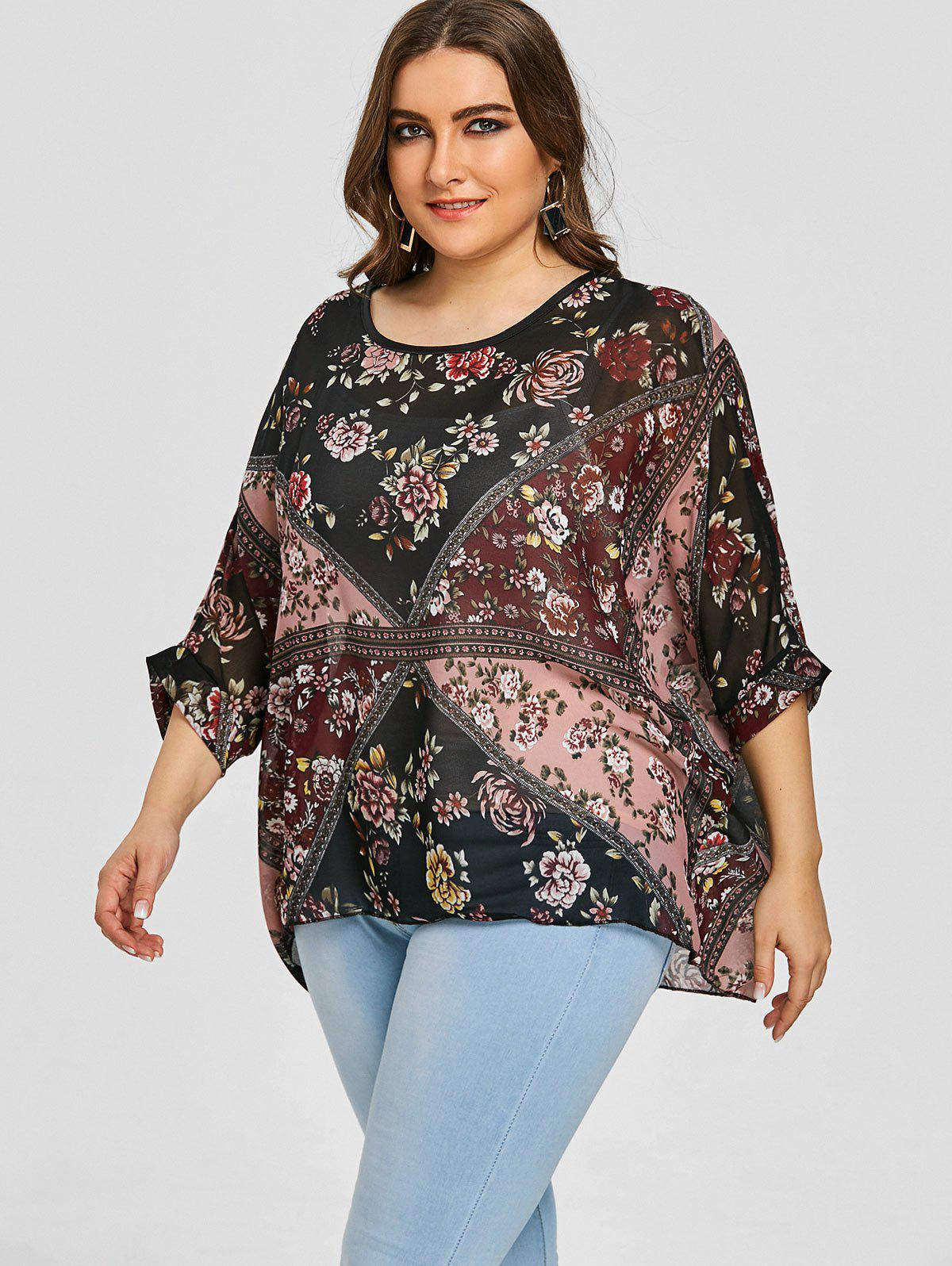Floral Mixed Plus Size Chiffon Top - BLACK ONE SIZE